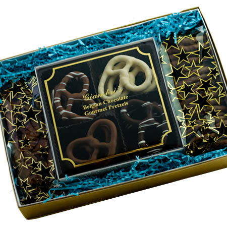 Gourmet Belgian Chocolate Pretzels & Potato Chips Gift Box