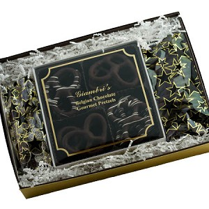 Gift Box Gourmet Dark Chocolate Pretzels and Nonpareils Gift Box